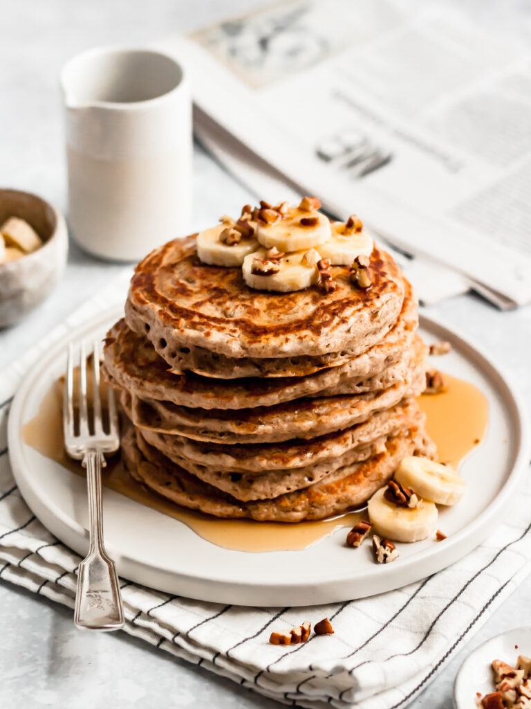 The most magical Whole Wheat Pancakes Recipe for cozy Sunday mornings! Oh so fluffy 100% whole grain goodness meant for maple syrup.