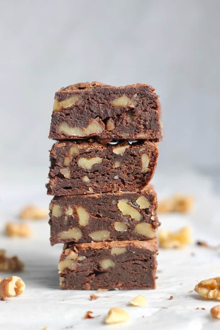 You'd never guess these amazingly rich and decadent Fudgy Avocado Walnut Brownies were packed with avocado and whole grain flour! Guaranteed to become your new favorite brownie.