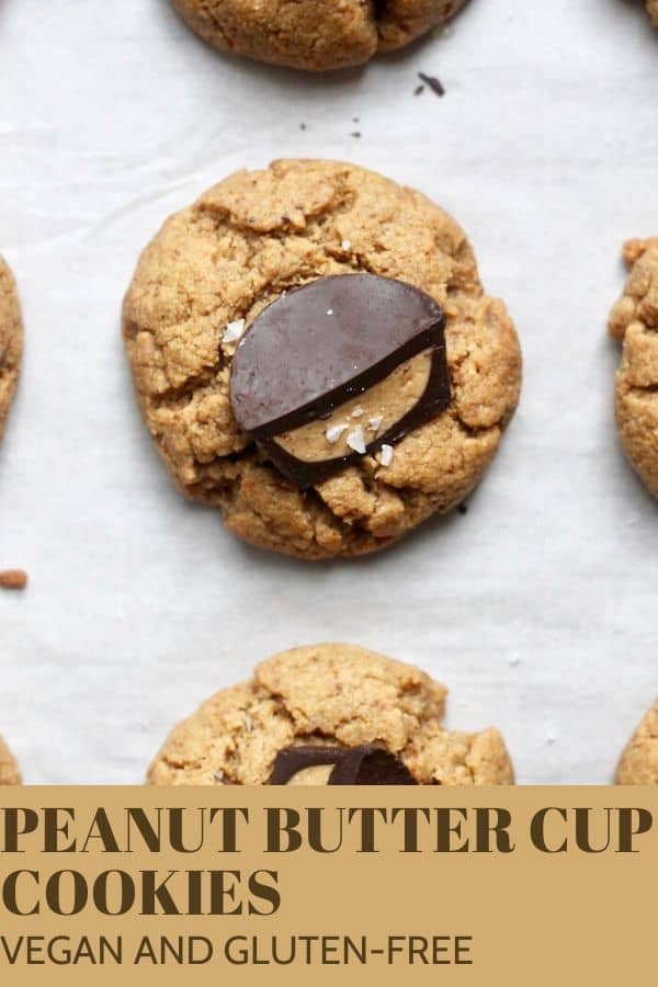 Amazing 1-bowl Vegan Peanut Butter Cup Cookies that come together in not time, zero chilling required! They're just as good as the classic and are gluten-free.