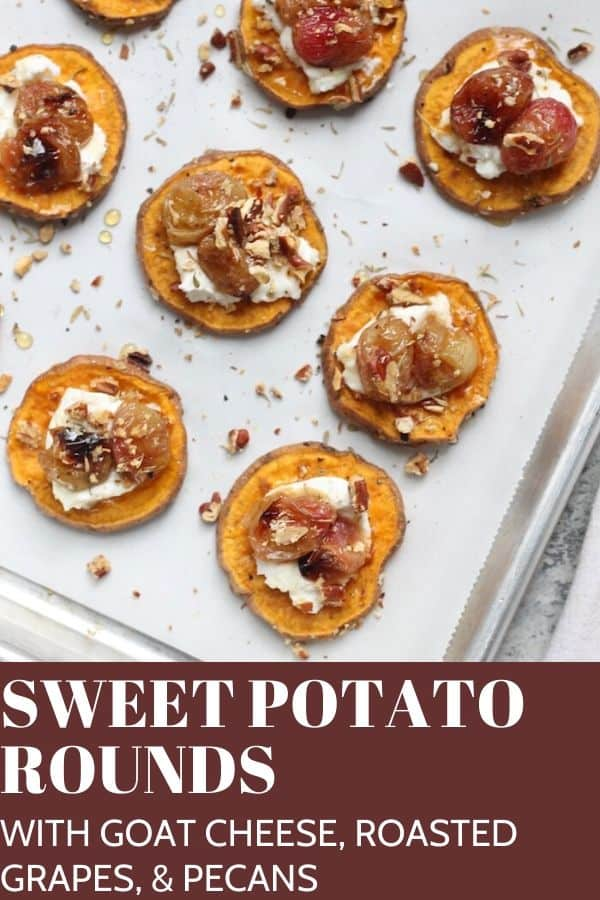 Sweet Potato Rounds with Goat Cheese, Roasted Grapes, and Pecans make the most delicious, easy, and festive holiday appetizer!