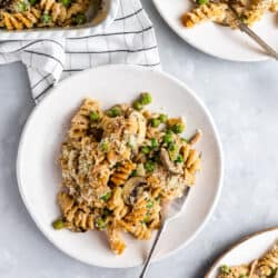 This comforting dairy-free Healthy Tuna Noodle Casserole is made decadently creamy with cashews! Just as satisfying as the original, it's the ultimate weeknight dinner!