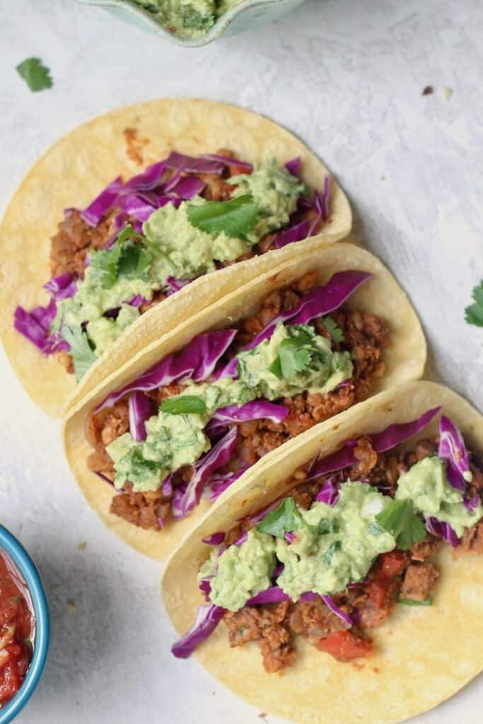 "The best healthy Vegan Chickpea Walnut Tacos with a super ""meaty"" filling made with mushrooms, chickpeas, walnuts, and homemade taco seasoning. This recipe makes a lot of ""meat,"" so it's great for a crowd!"