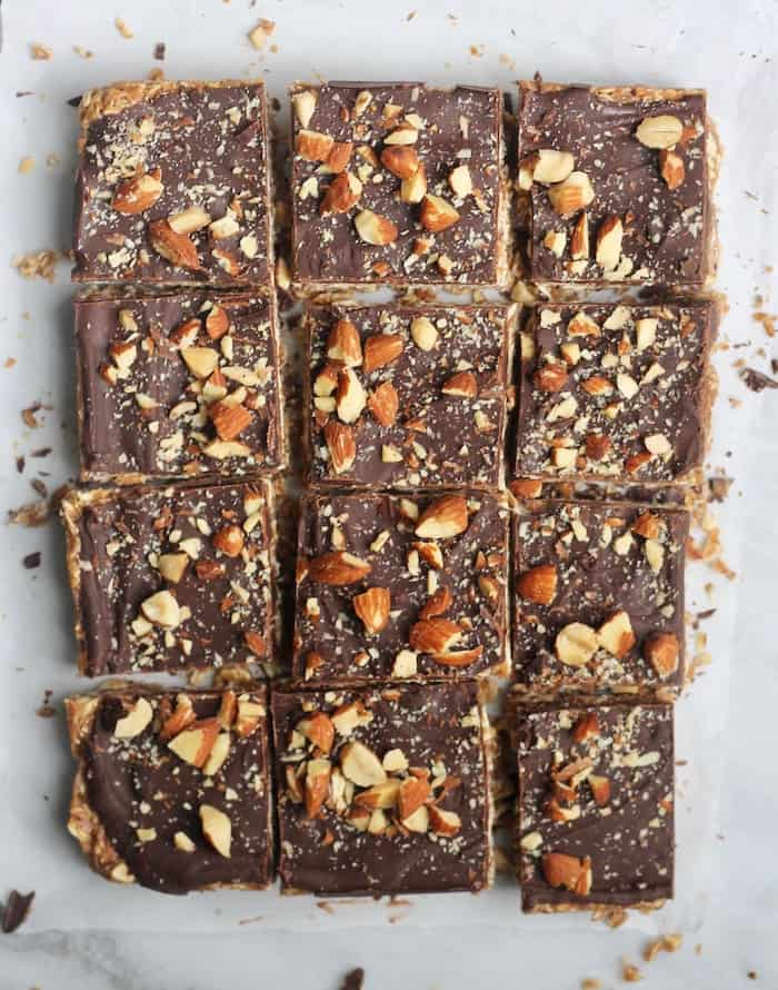 Delicious and easy No-Bake Chocolate Almond Butter Oatmeal Bars perfect for snacking or an afternoon treat!