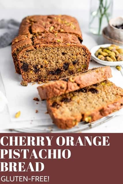 The most moist and delicious Gluten-Free Cherry Orange Pistachio Bread, lovely with a cup of tea for breakfast. Naturally sweetened and bursting with tart cherries!
