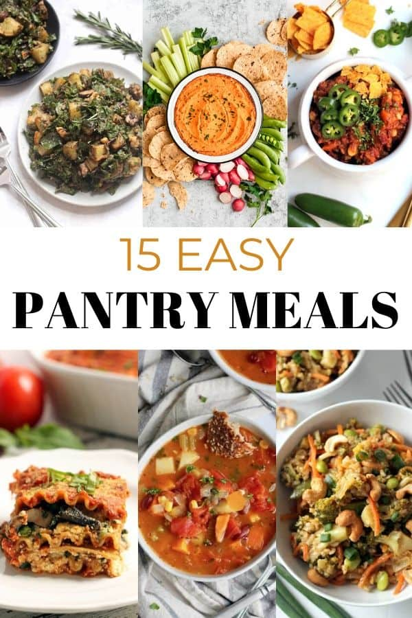 Take the stress out of meal prepping with these 15 Easy Pantry Meals! Built on staple items like canned tomatoes, beans, and pasta, these healthy recipes are adaptable and affordable to prepare. Vegan and gluten-free options!