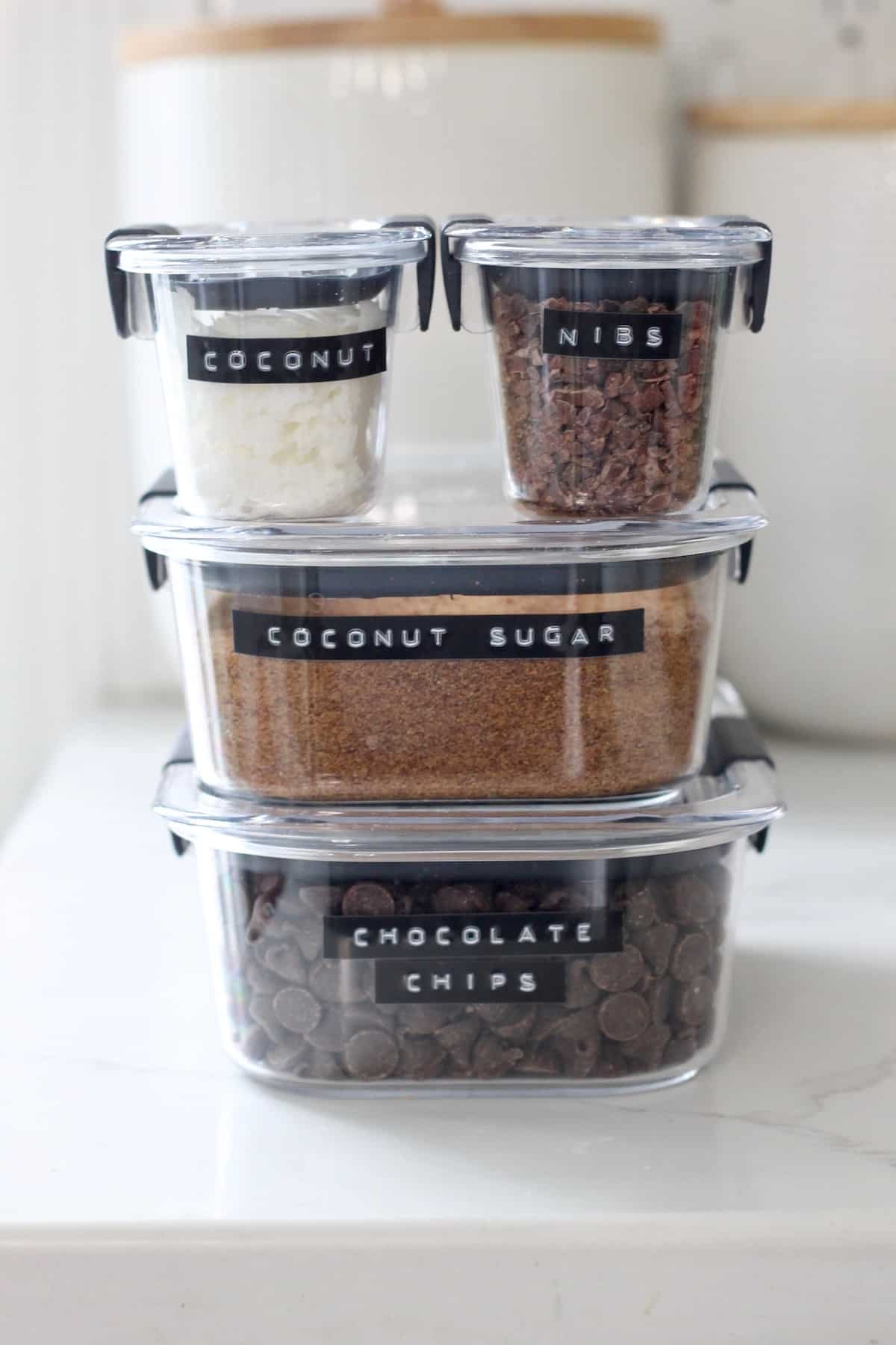 cocoa powder stacked in containers