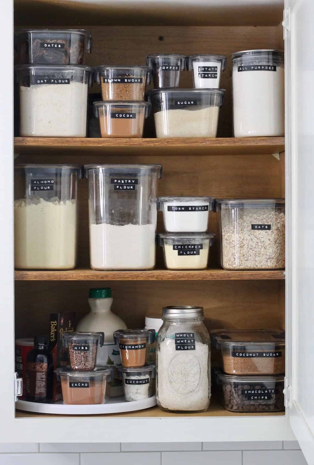 pantry with see through containers of food