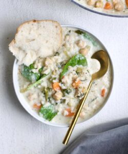creamy chickpea rice soup