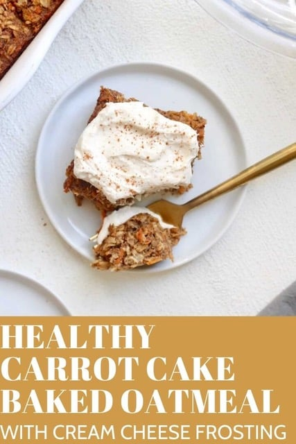 Easy, moist Carrot Cake Baked Oatmeal studded with pecans and drizzled with cream cheese icing. Perfect for a healthy breakfast but good enough for dessert!