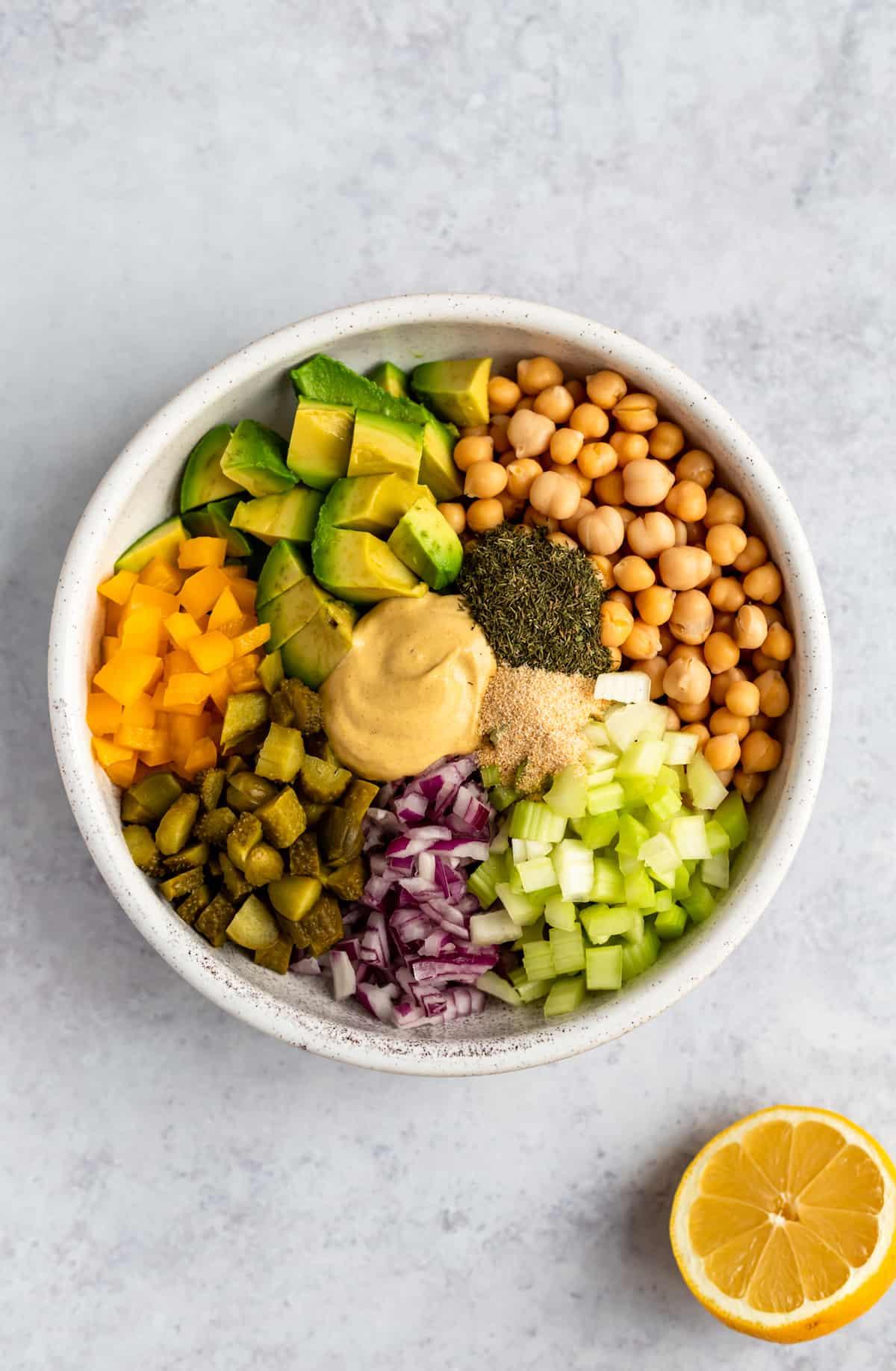 white bowl of vegetable ingredients