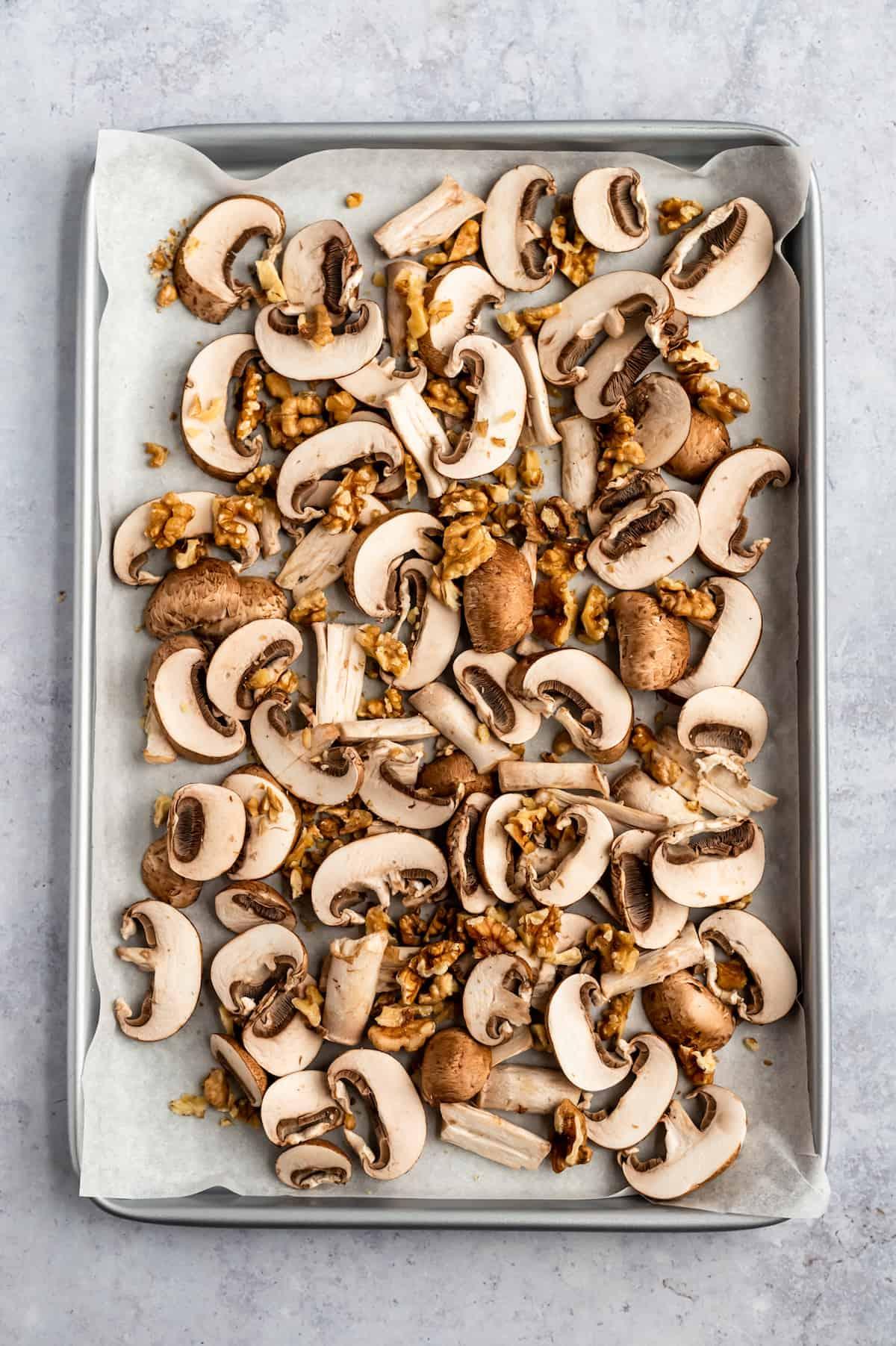 sheet pan of mushrooms and walnuts