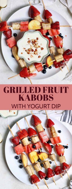 Grilled Fruit Kabobs with Honey AlmondYogurt dip are a deliciously simple and impressive summer treat. The perfect healthy party snack to please a crowd!