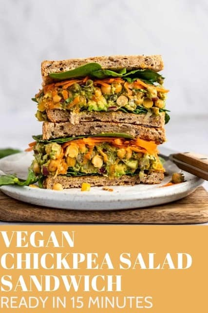 Enjoy this crave-worthy Chickpea Salad Sandwich with no mayo for an easy and healthy lunch. This satisfying recipe come together in under 15 minutes.