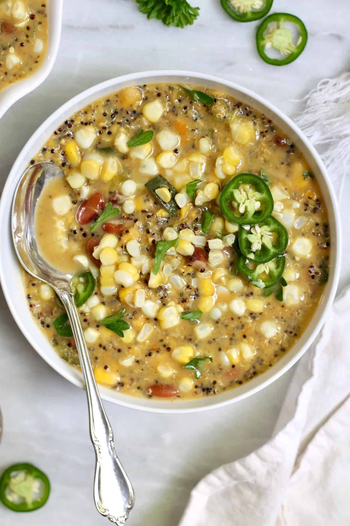up close corn soup