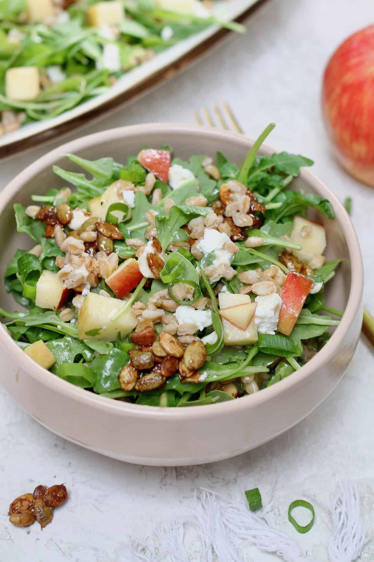 bowl of salad with apple