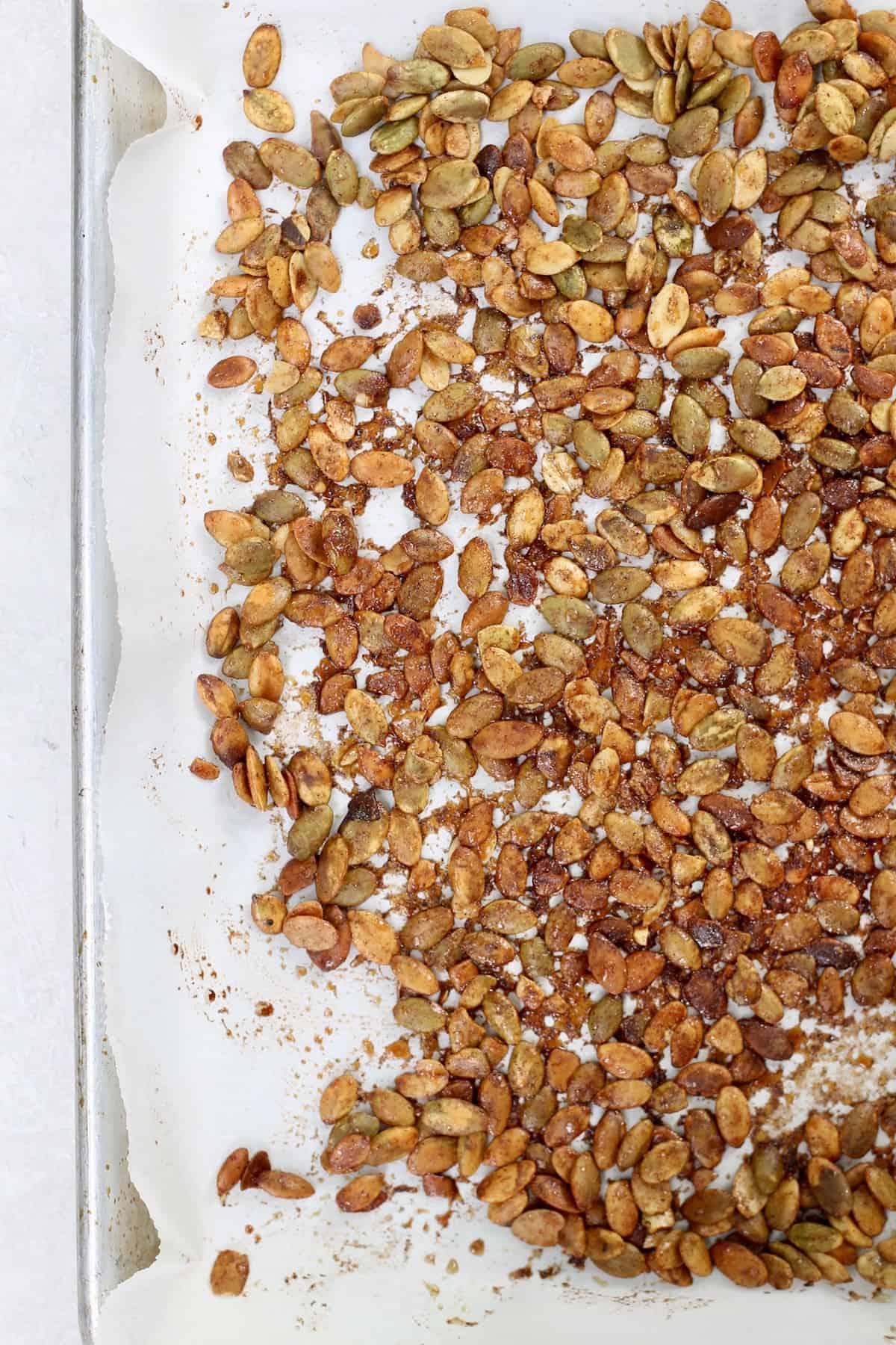 sheet pan of pumpkin seeds