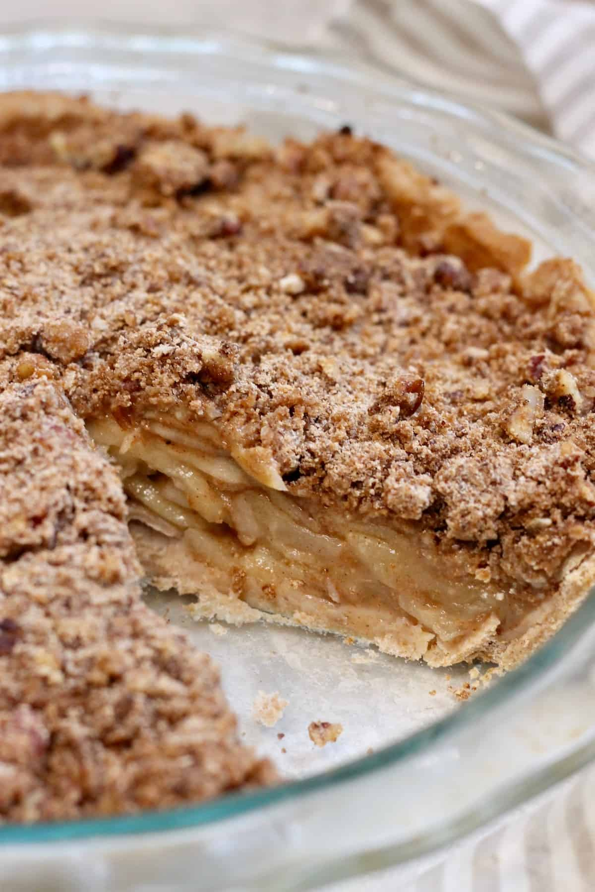 up close apple pie