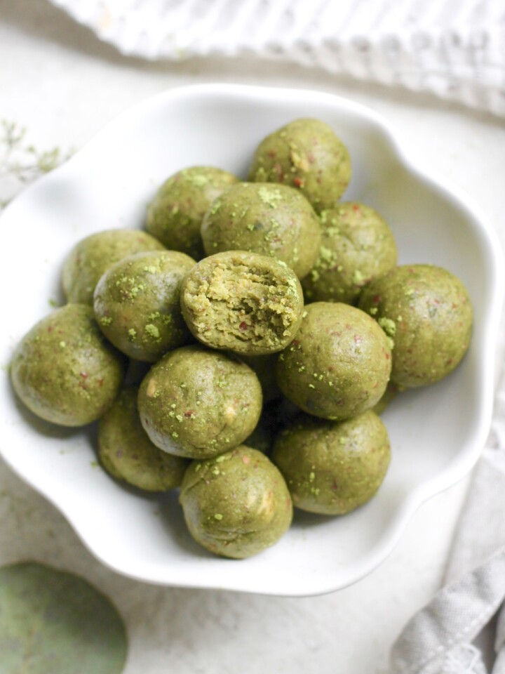 bowl of green matcha bites