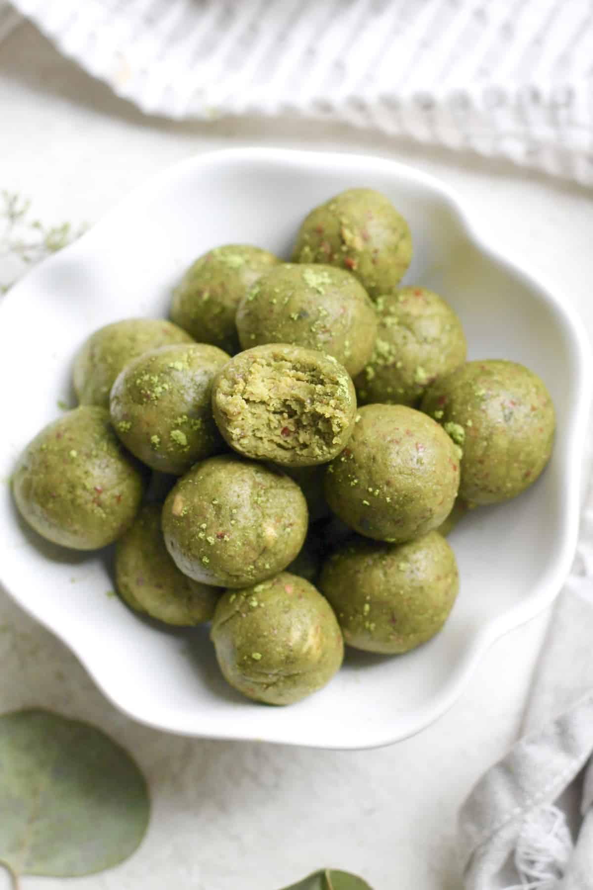 bowl of green matcha bites