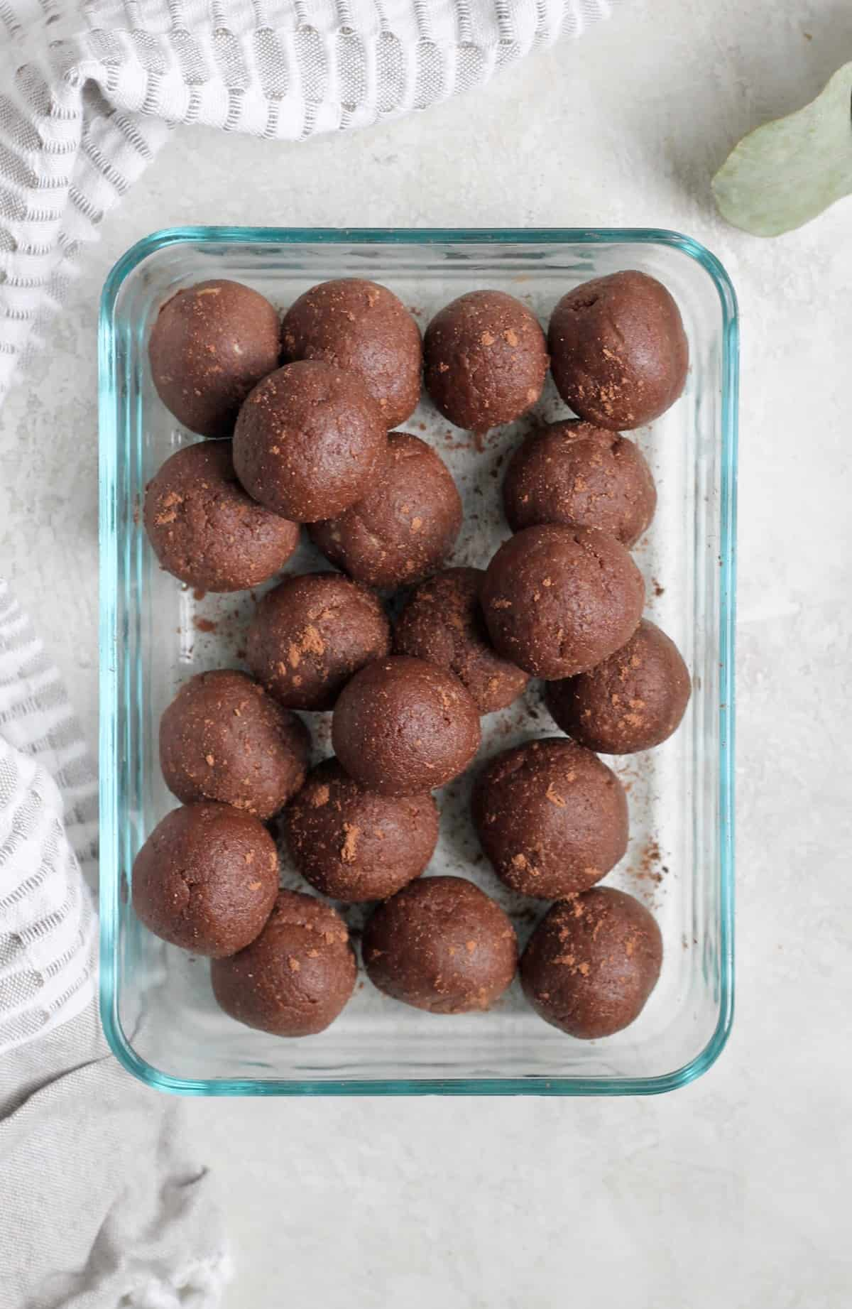 glass dish of chocolate balls