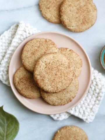 pink plate of cookies