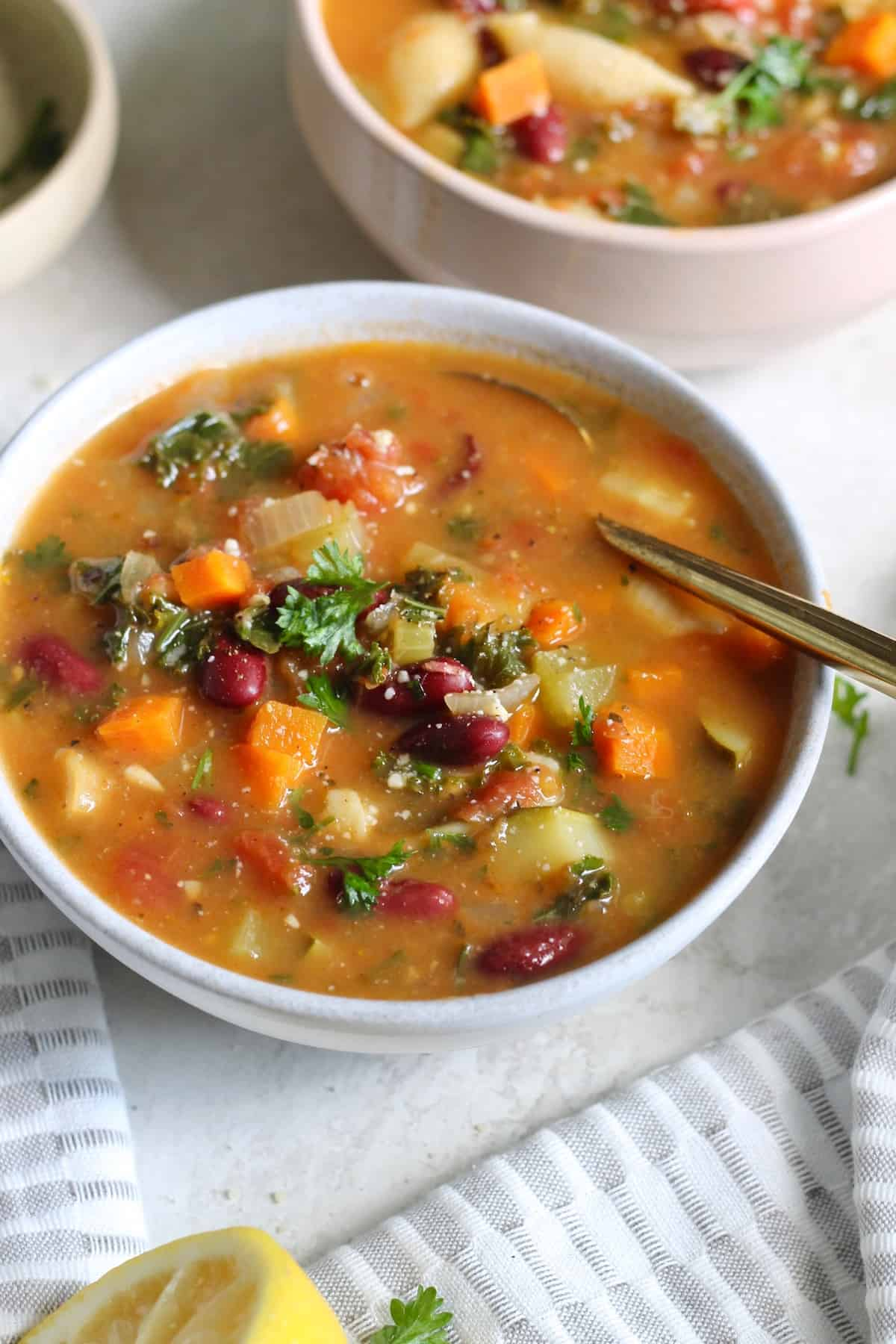 bowl of vegetable soup with lemon