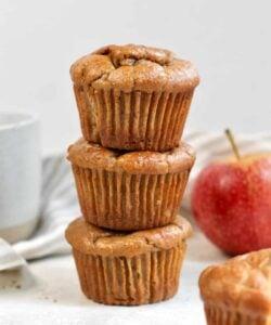 three apple cinnamon muffins stacked