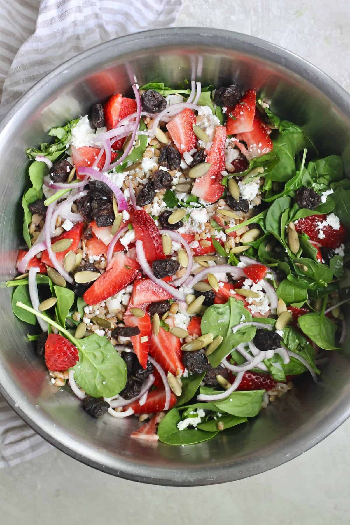 mixing bowl of strawberry salad