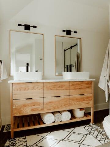 wood vanity in bathroom