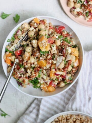 white bowl of farro salad