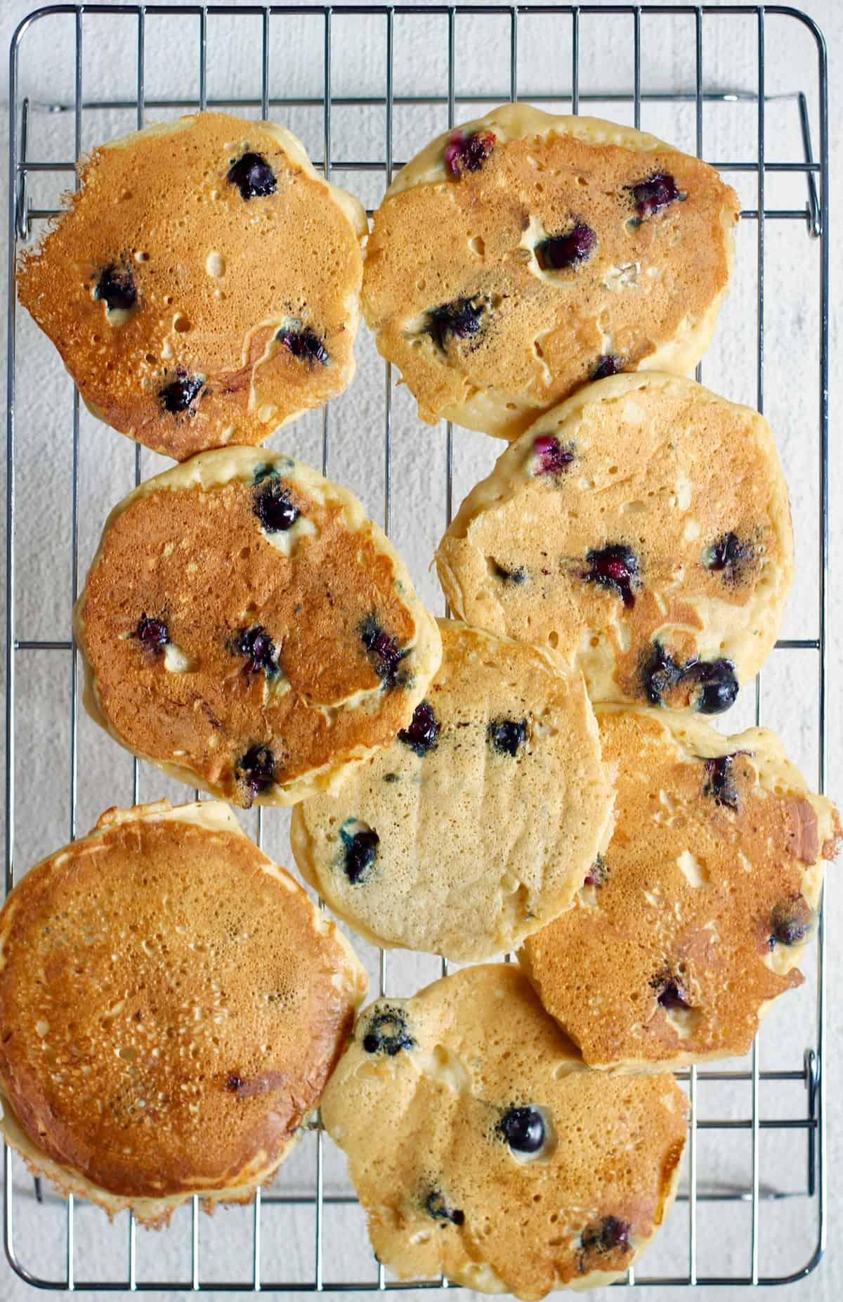 lemon blueberry pancakes on cooling rack