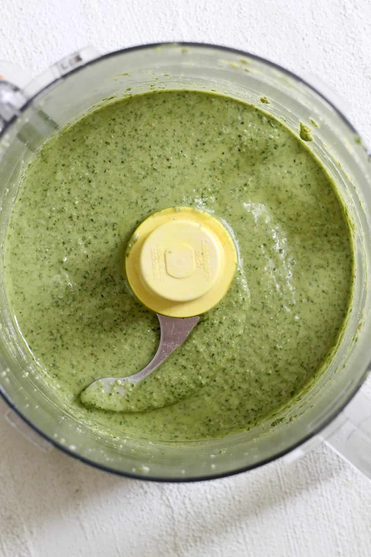 food processor with blended pesto
