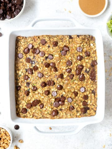 white pan of baked oatmeal with chocolate chips
