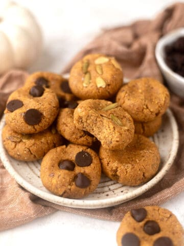 plate of cookies with chocolate chips