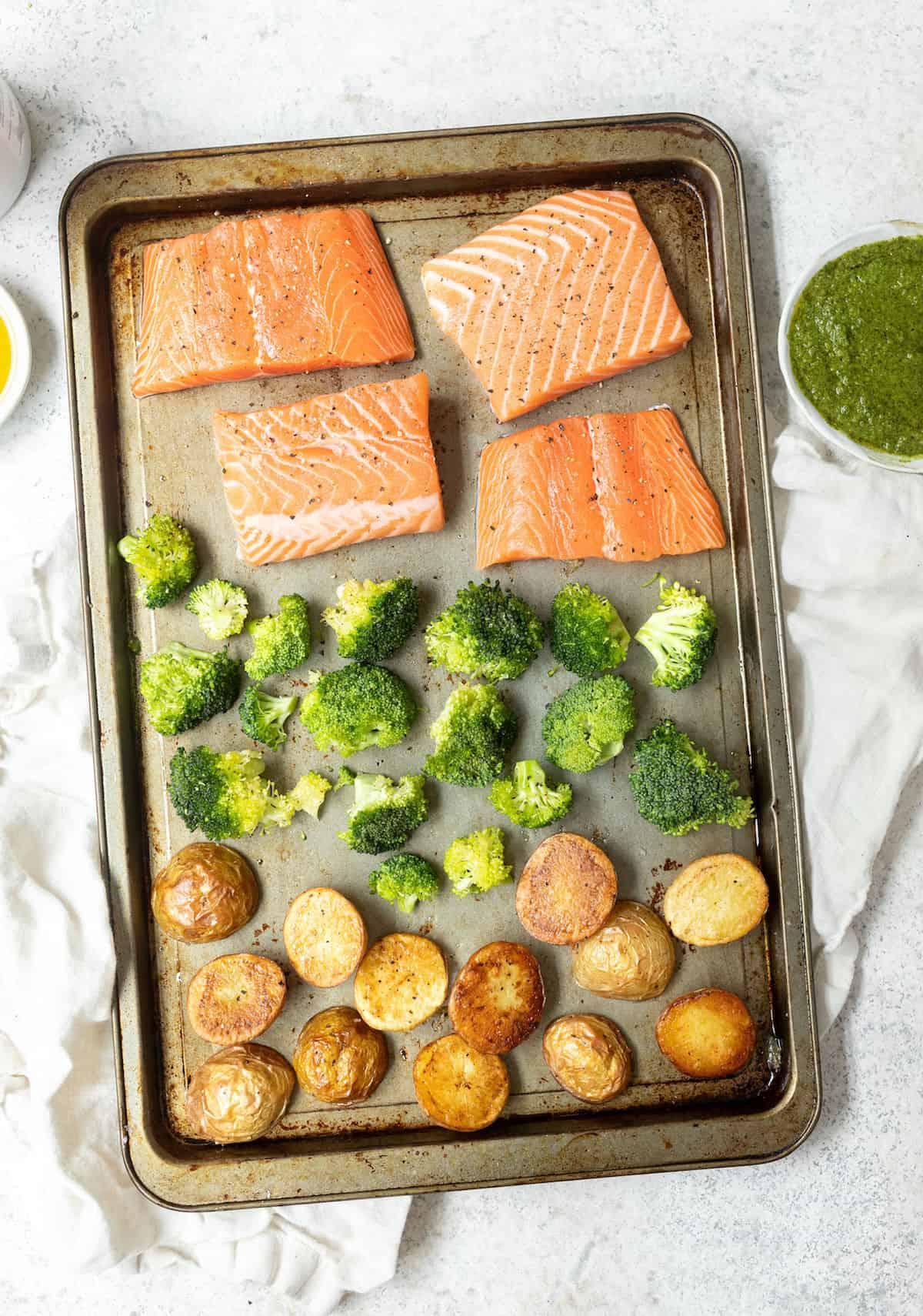 sheet pan with salmon, potatoes and broccoli